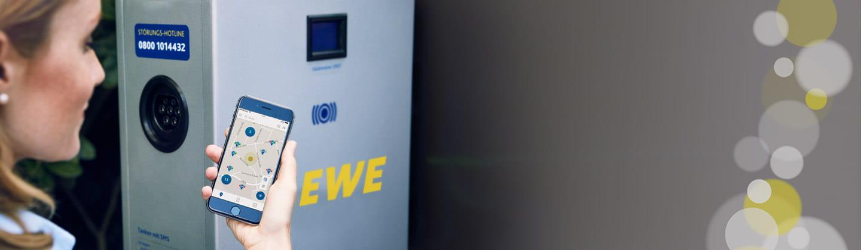 Finden Sie bequem und einfach mit der eMobility App alle EWE Stromtankstellen.