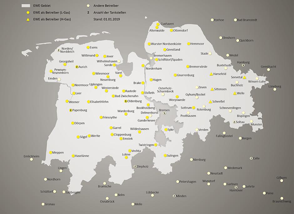 Entdecken Sie Erdgastankstellen im Ems-Weser-Elbe-Gebiet.