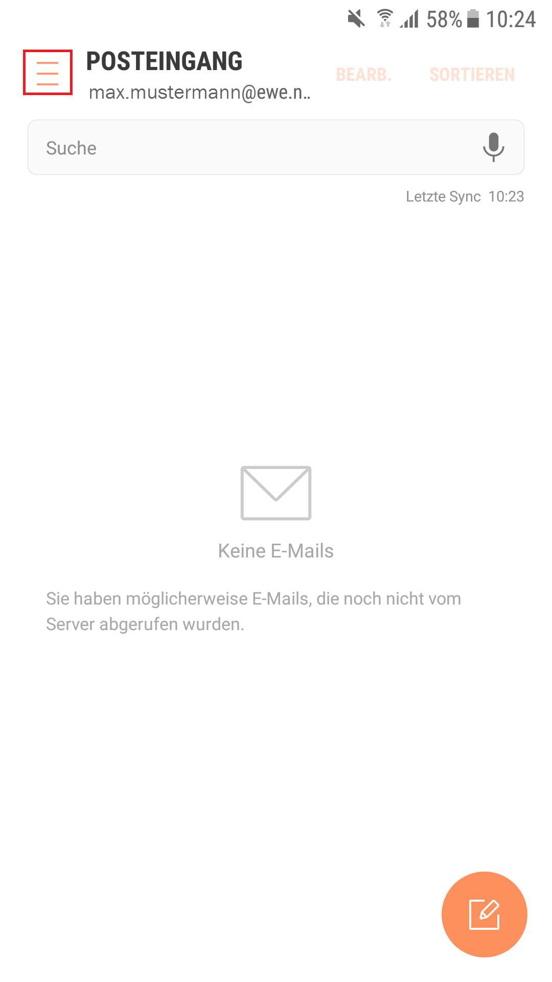 Ordner E-Mail Konto aufrufen
