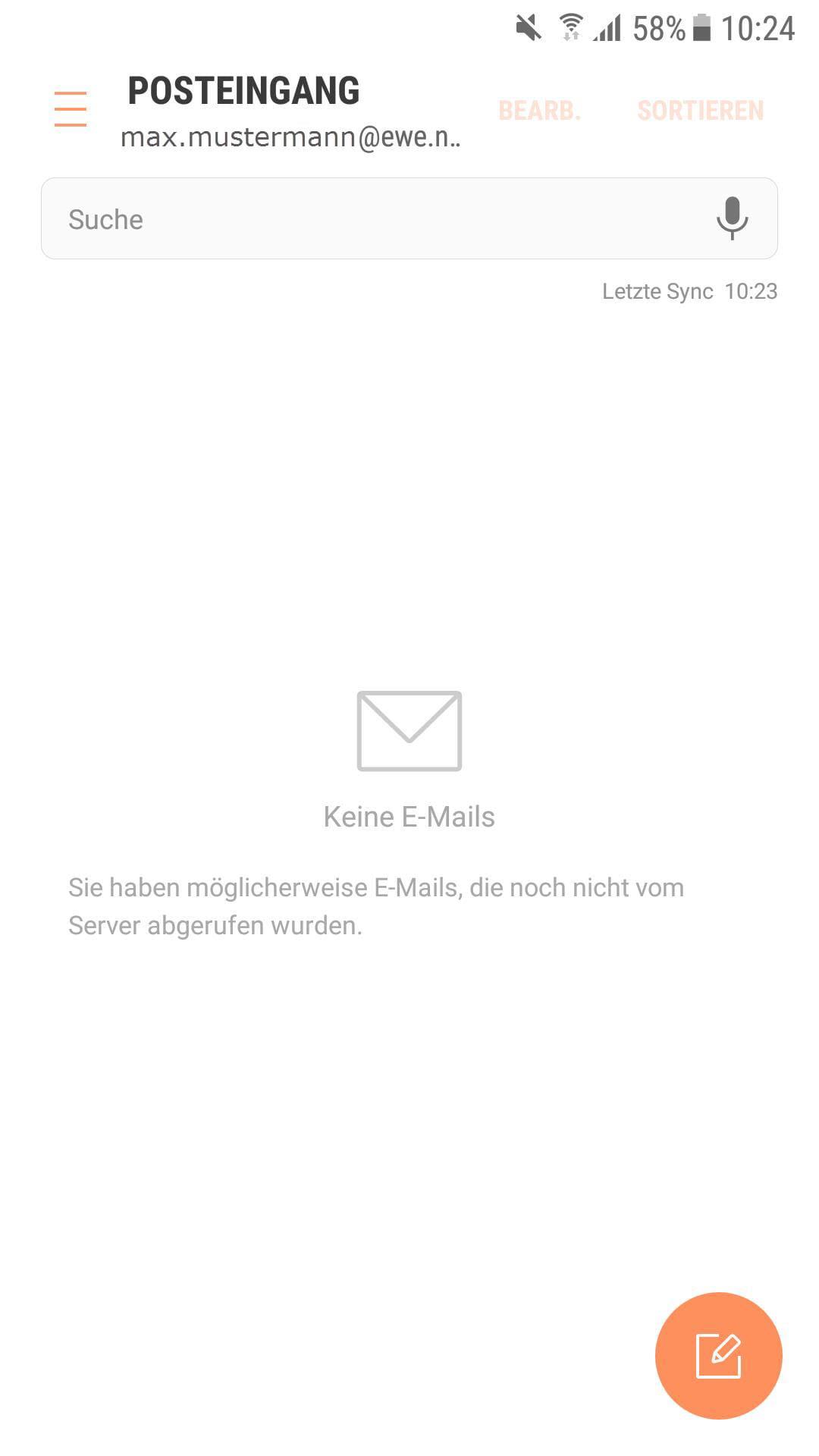Posteingang des neu eingerichteten E-Mail Kontos