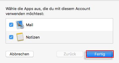 Apple Mail einrichten Apps auswaehlen