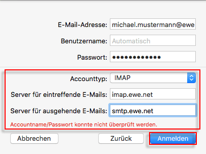 Apple Mail einrichten Accounttyp Server
