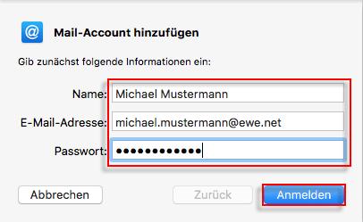 Apple Mail Account hinzufuegen Name E-Mail-Adresse Passwort