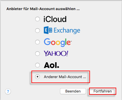 Apple Mail Account auswaehlen