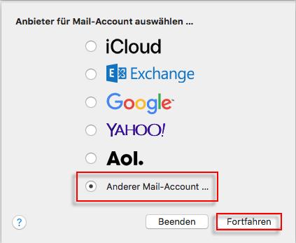 Apple Mail Account auswaehlen