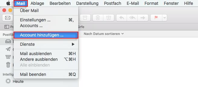 Apple Mail Account hinzufuegen