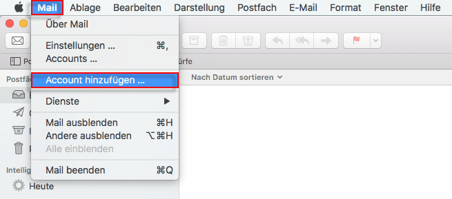 Apple Mail Account hinzufuegen
