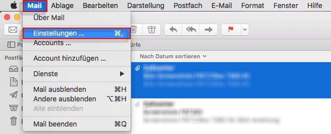 Apple Mail Menu Mail Einstellungen