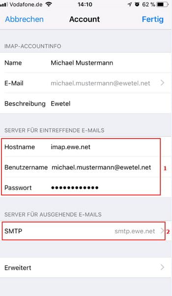 iOS11 IMAP-Accountinfo Hostname