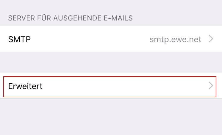 iOS11 Einstellungen SMTP-Server Erweitert