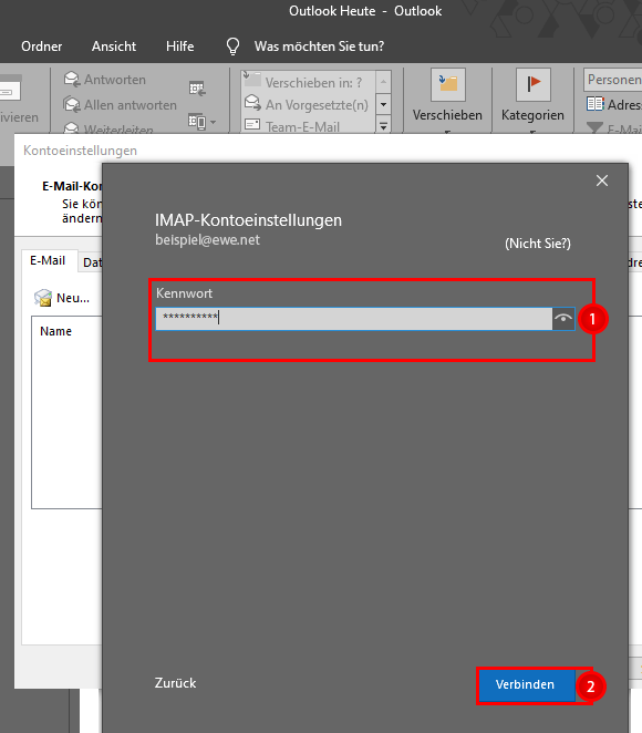 Klickpfad Microsoft Outlook 2016 Einrichten IMAP