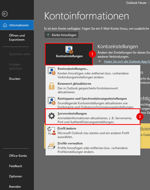 Klickpfad Outlook 2016 IMAP anpassen