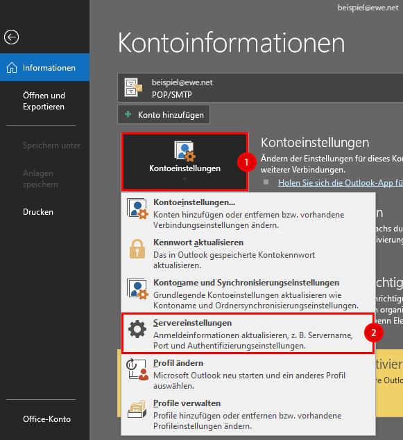 Klickpfad Outlook 2016 POP anpassen