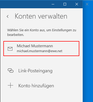 Windows Mail App Kontenauswahl
