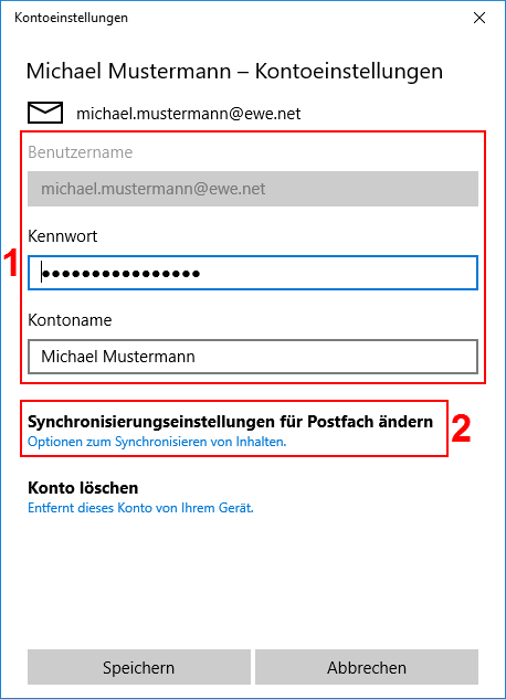 Windows Mail App Kontoeinstellungen