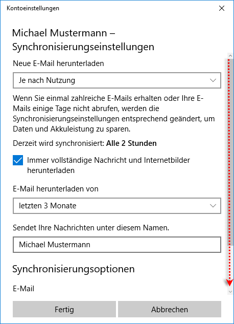 Windows Mail App Synchronisierungseinstellungen