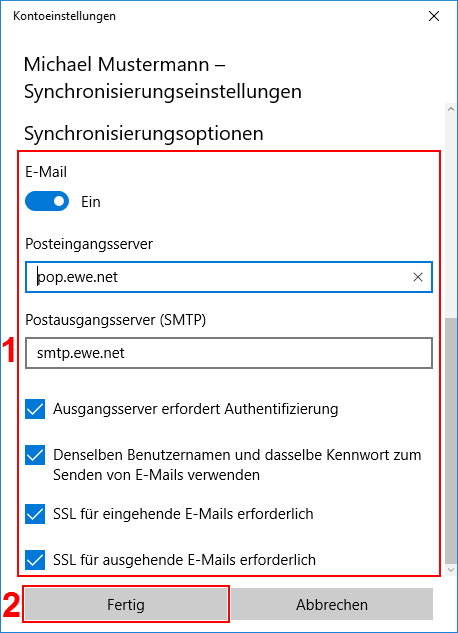 Windows Mail App Server Einstellungen POP