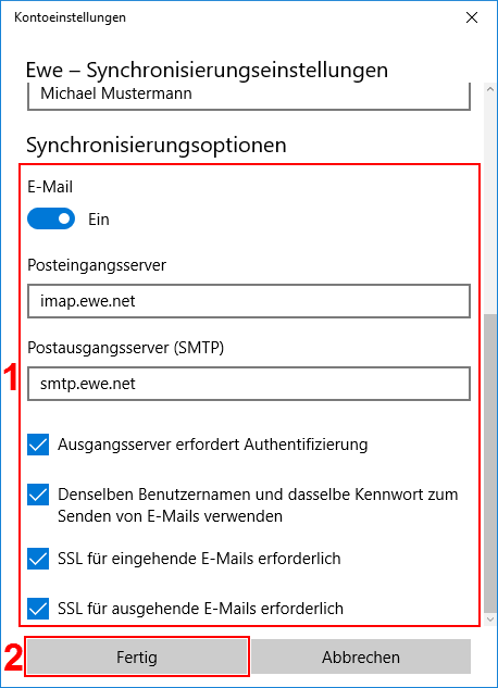 Windows Mail App Server Einstellungen IMAP
