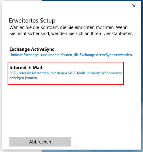 Erweitertes Setup Internet-E-Mail Konto