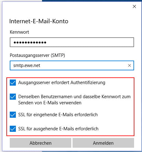 Internet-E-Mail-Konto Servereinstellungen