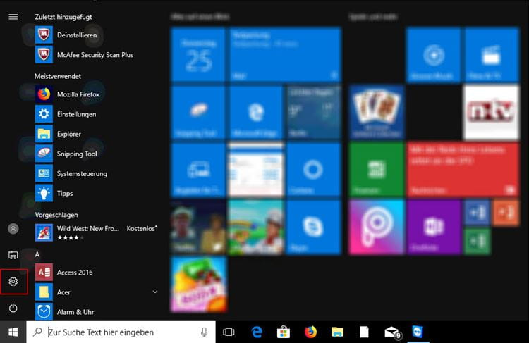 Windows Einstellungen auf dem Windows 10 Desktop