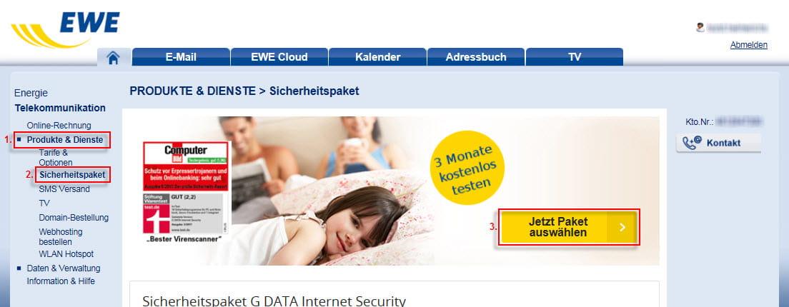 Mein EWE - Produkte und Dienste - Sicherheitspaket