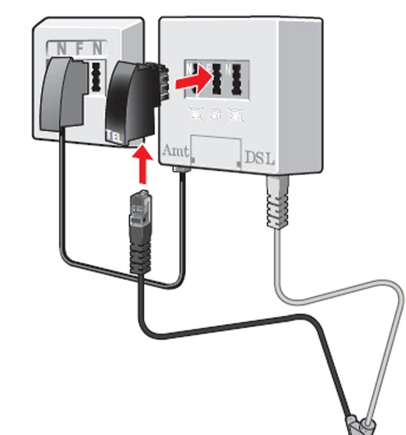 Anschluss Telefonstecker in Splitter