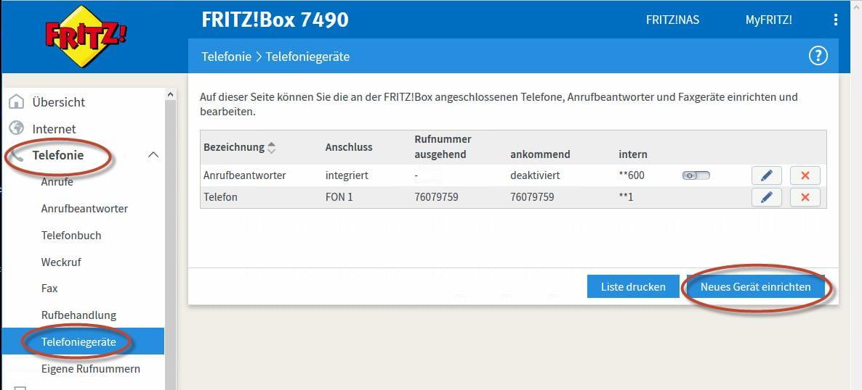 neues Telefon in der FRITZ!Box 7490 einrichten Schritt 1