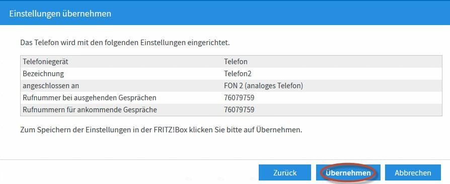 neues Telefon in der FRITZ!Box 7490 einrichten Schritt 7