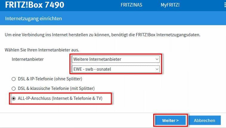 Auswahl des Internetanbieters und der Anschlussart